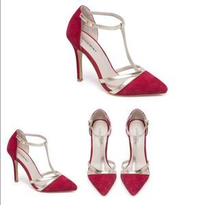 *SHOEMINT Red and Gold Strappy Heels Size 7.5